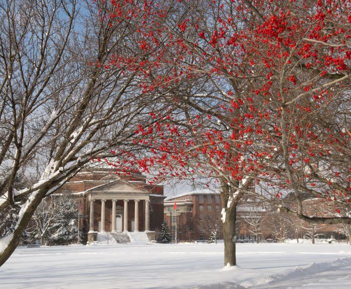 Photo: Winter Campus Scenes Snow Hendricks Chapel Quad Exterior Red Berries