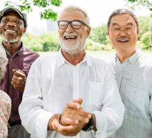 Group of retirees smiling and laughing
