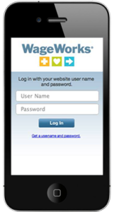 Image: Wageworks app on mobile phone