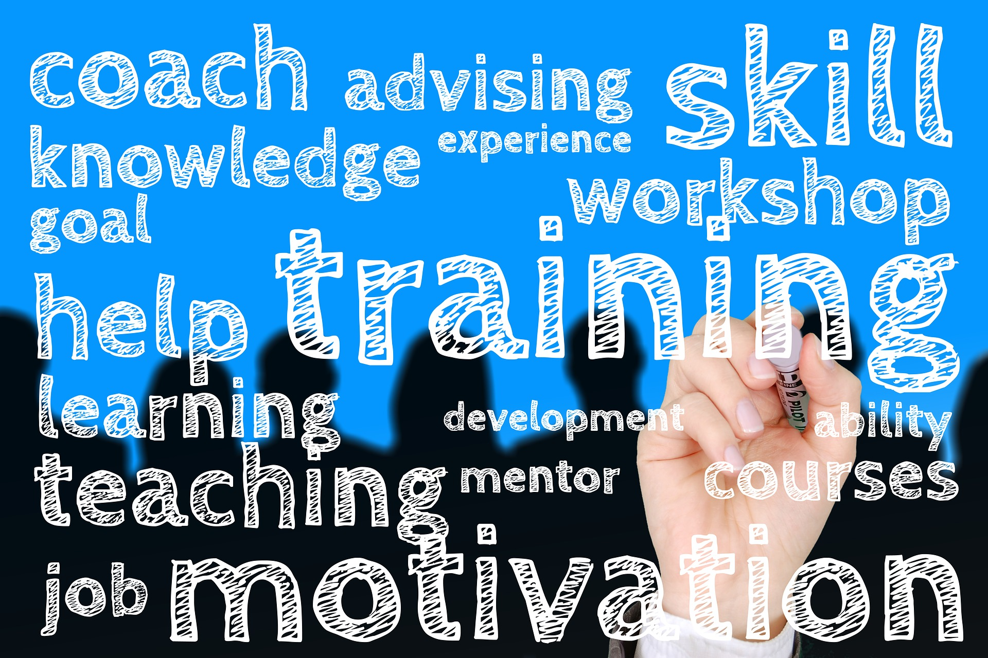 Image: hand writing words on board: coach advising skill knowledge experience workshop help training learning development teaching mentor courses job motivation