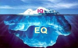 Graphic: View of glacier under water and above the water distinguishing between IQ and EQ