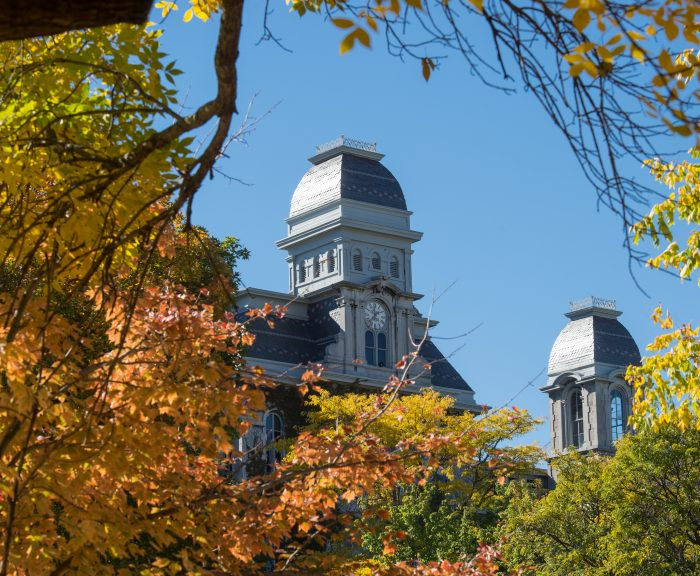 Photo: Fall Campus Scenes HL Hall Of Languages Exterior Detail Clock Tower