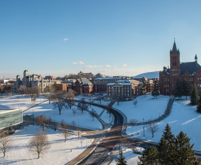 Winter Campus Scenes Crouse College Maxwell Tolley HL Hall of Languages From Roof