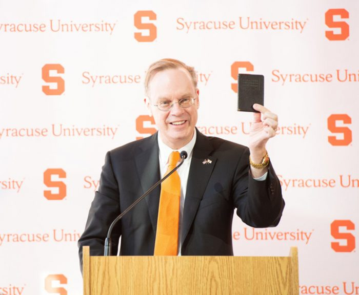 Photo: Chancellor Kent Syverud speaking at winter message