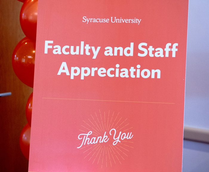 Faculty and staff appreciation thank you sign