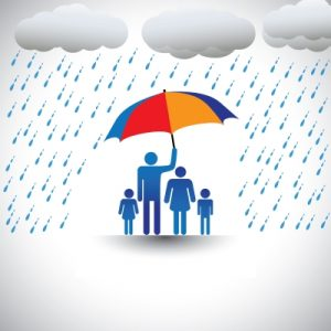 Cartoon graphic of a family under an umbrella in the rain