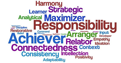 word collage of 34 strengths